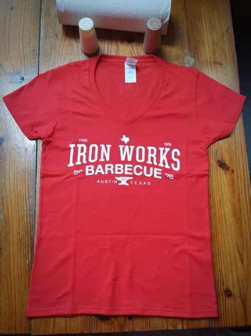 Iron Works Barbecue Red Ladies V-Neck T-Shirt